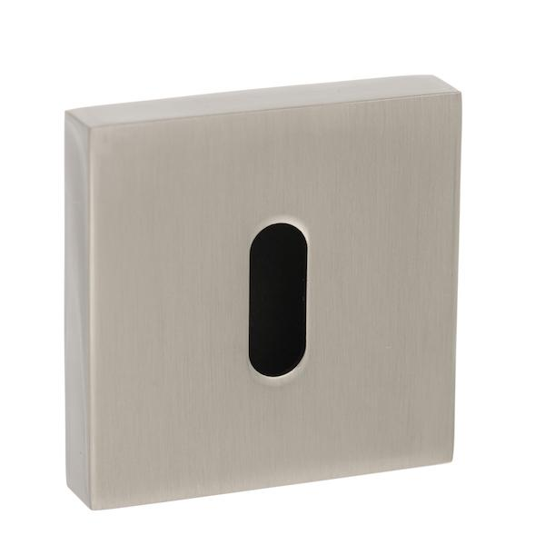 Senza Pari Key Escutcheon on Flush Square Rose - Satin Nickel