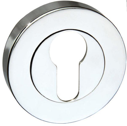 Senza Pari Euro Escutcheon on Round Rose - Polished Chrome