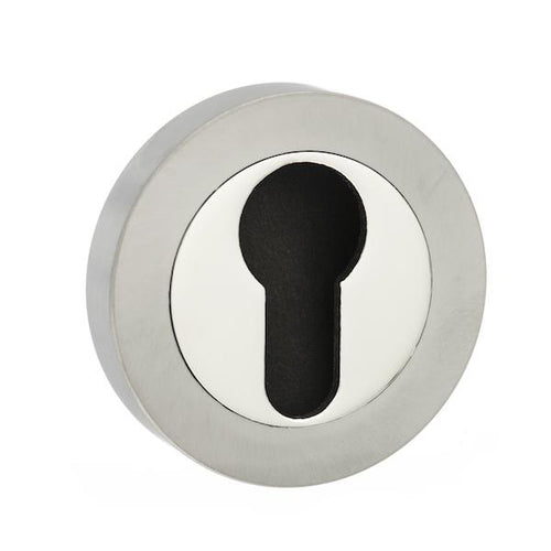 Senza Pari Euro Escutcheon on Round Rose - Satin Nickel/Nickel Plate