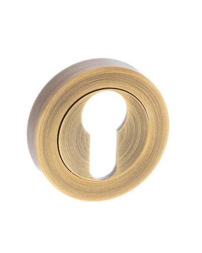 Senza Pari Euro Escutcheon on Round Rose - Weathered Antique Bronze