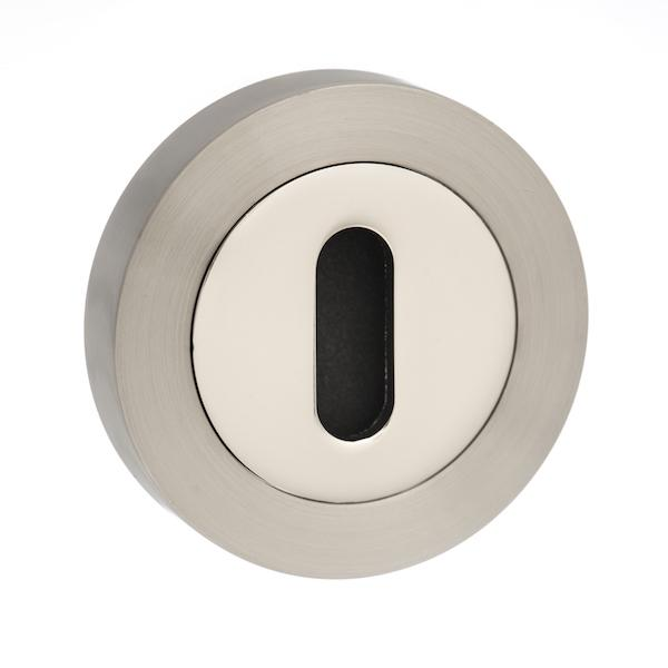 Senza Pari Key Escutcheon on Round Rose - Satin Nickel/Nickel Plate