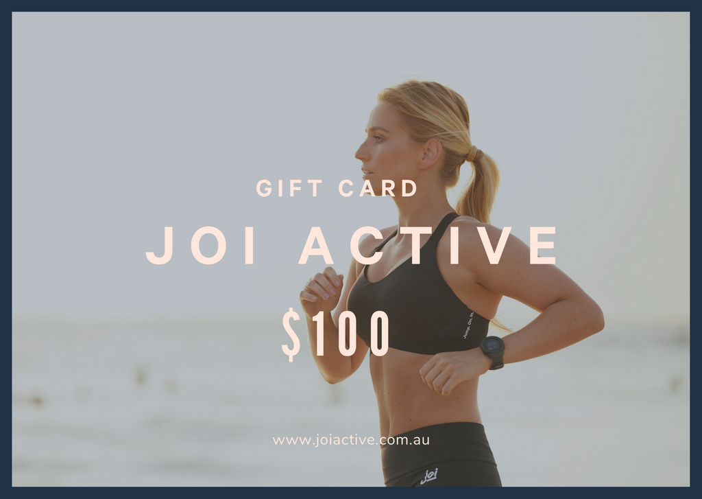 JOI Active $100 Gift Card. www.joiactive.com.au. Jump On In. High Impact Aquatic Sports Bra and High Rise Leggings
