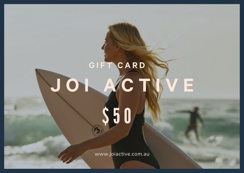 JOI Active $50 Gift Card. High Impact One Piece Sim Suit. www.joiactive.com.au. Jump On. In.