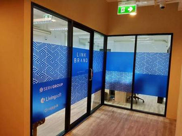 printed frosted film sticker on glass window graphic film print sticker dust film on window service in bangkok Thailand