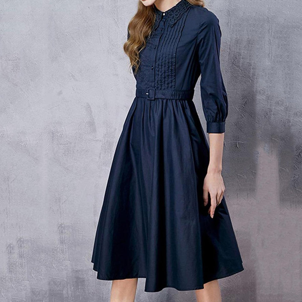 f95dde092f58 Vintage Lapel Belt Plain Skater Dress – Seniful