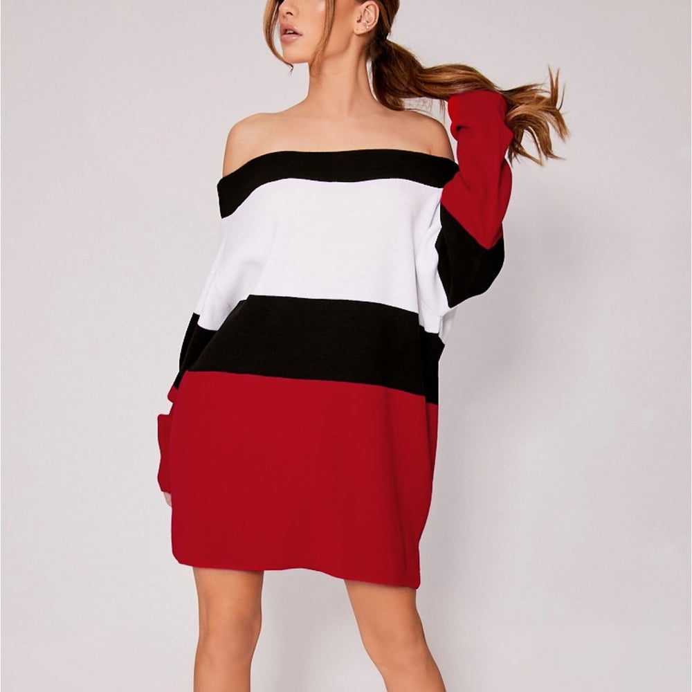 Sexy Off The Shoulder Color Block Casual Sweater Dress