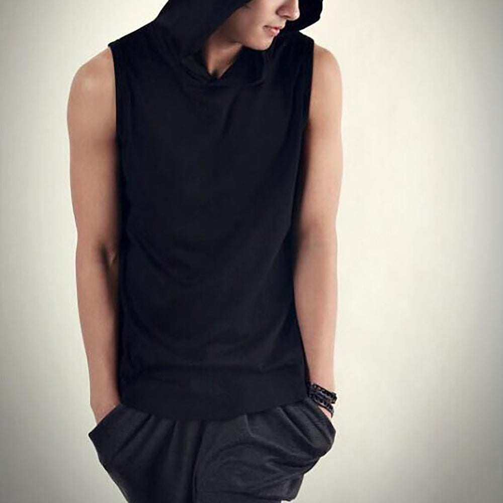 Fashion Mens Sleeveless T-Shirt With Hoodie
