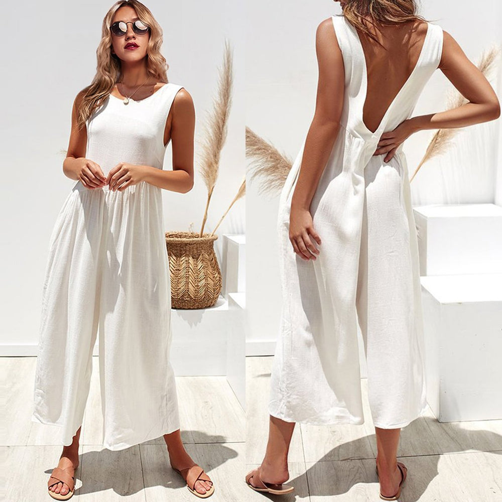 7a8332c4ef5b Sexy Backless Lose Wide Leg Jumpsuit