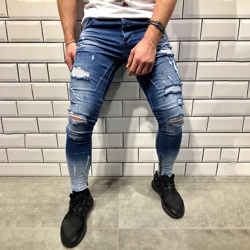 Fashion Hole Slim Slim Gradient Jeans