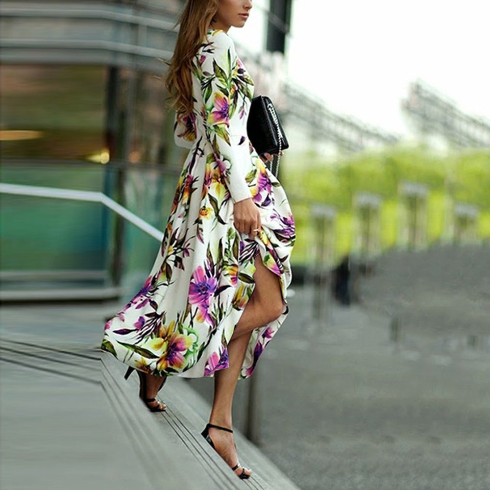 Long-Sleeved Printed Round Collar Expansion Maxi Vacation Dress 2e898362d