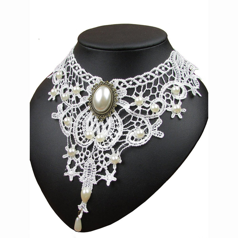 Pearl Decorative Lace Hollow Out Necklace