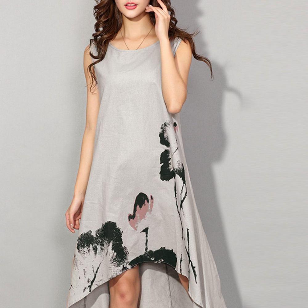 Ink Printed Loose Sleeveless Casual Vacation Dress With Plus Size
