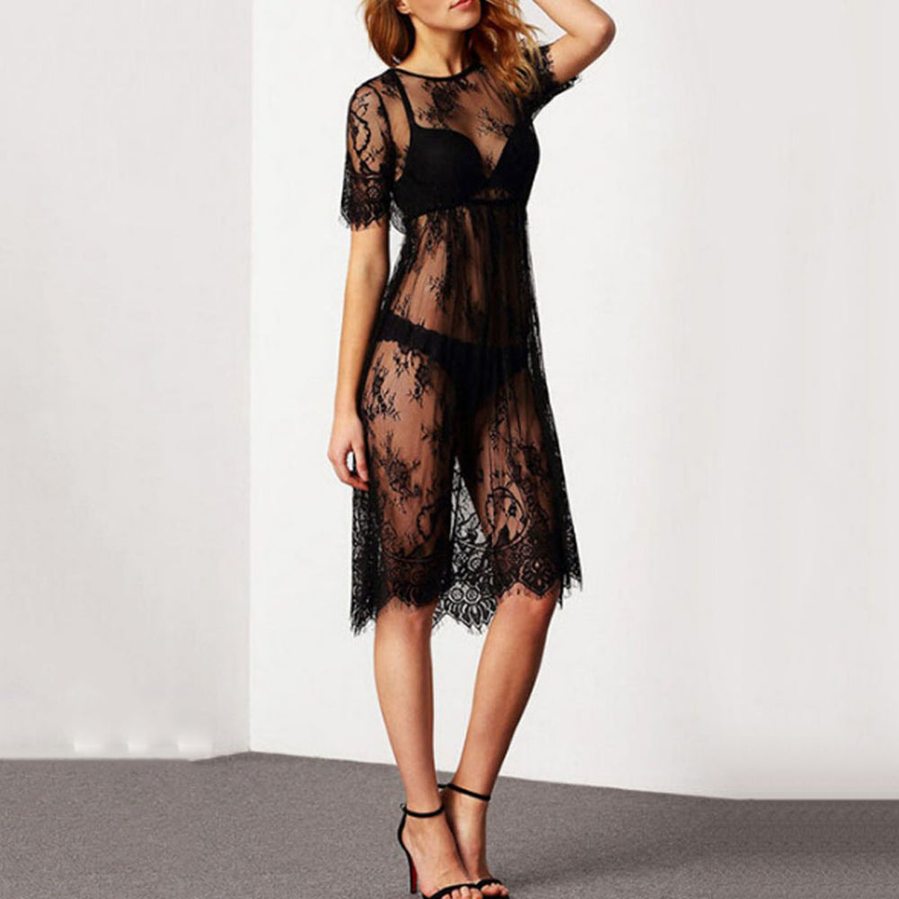 Round Neck  See Through  Plain Cover Ups