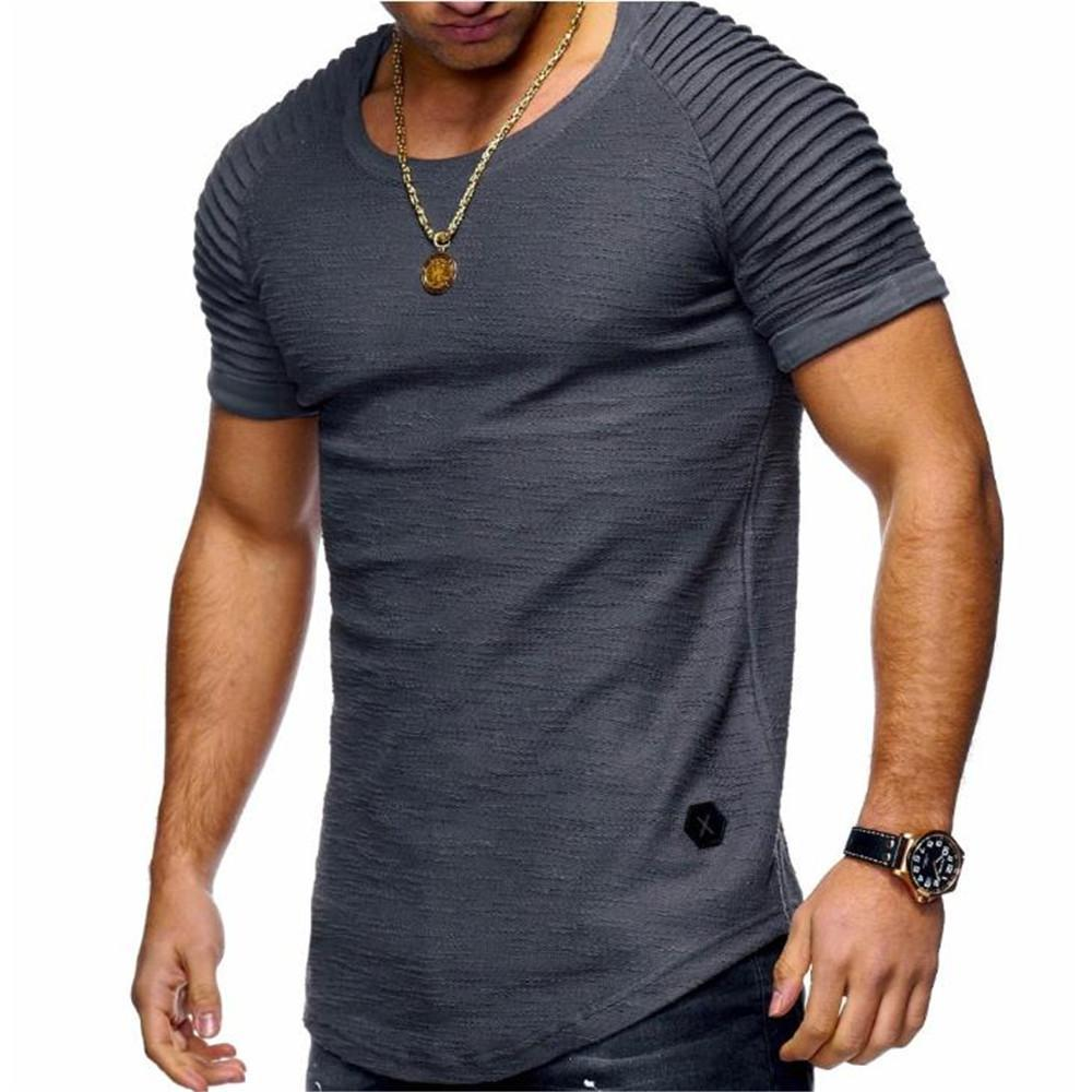Fashion Men's Casual Plain Round Neck Short Sleeve Top