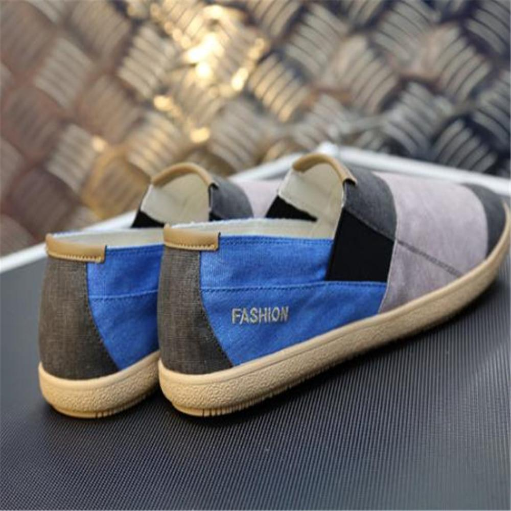 Fashion Men's Color Block Canvas Loafers Shoes