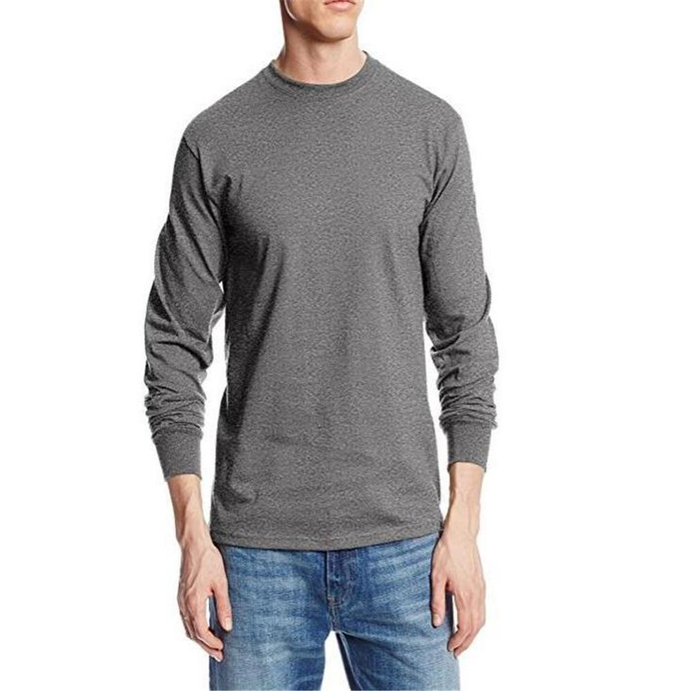 Fashion Men's Loose Plain Round Neck Long Sleeve Top