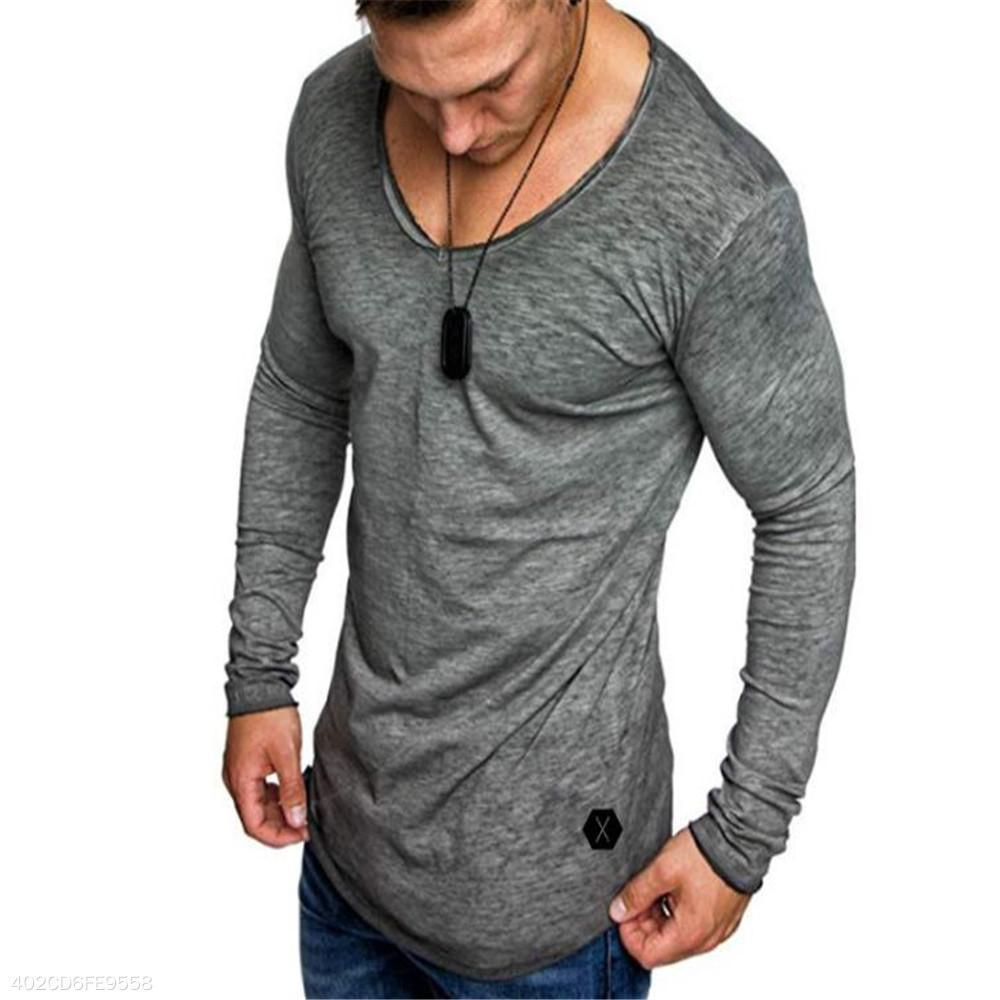 Fashion Casual Loose Plain Long Sleeve Mens Top