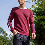 Casual Mens Solid Color Round Neck Long Sleeve Stripe T Shirts