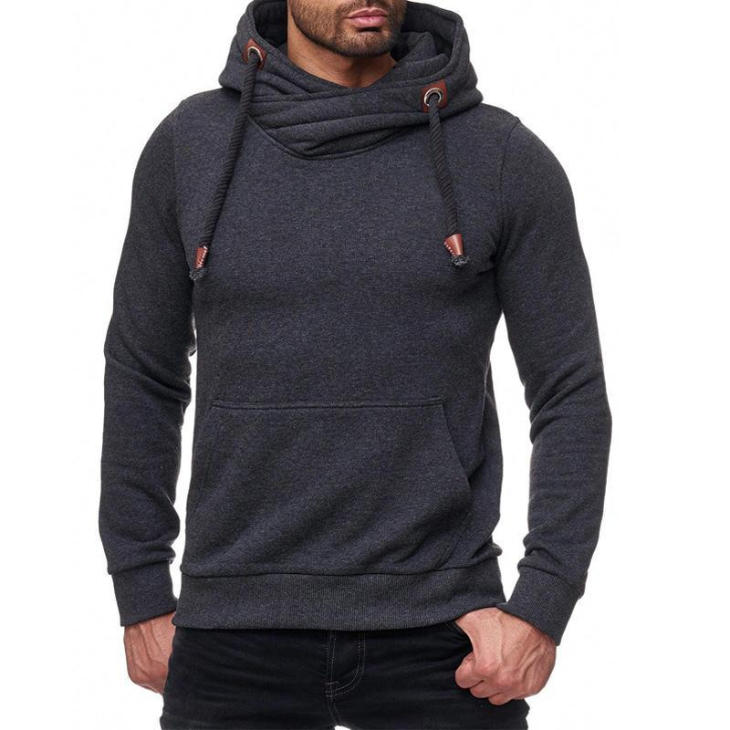 Fashion Mens Solid Color Heap Collar Hoodie