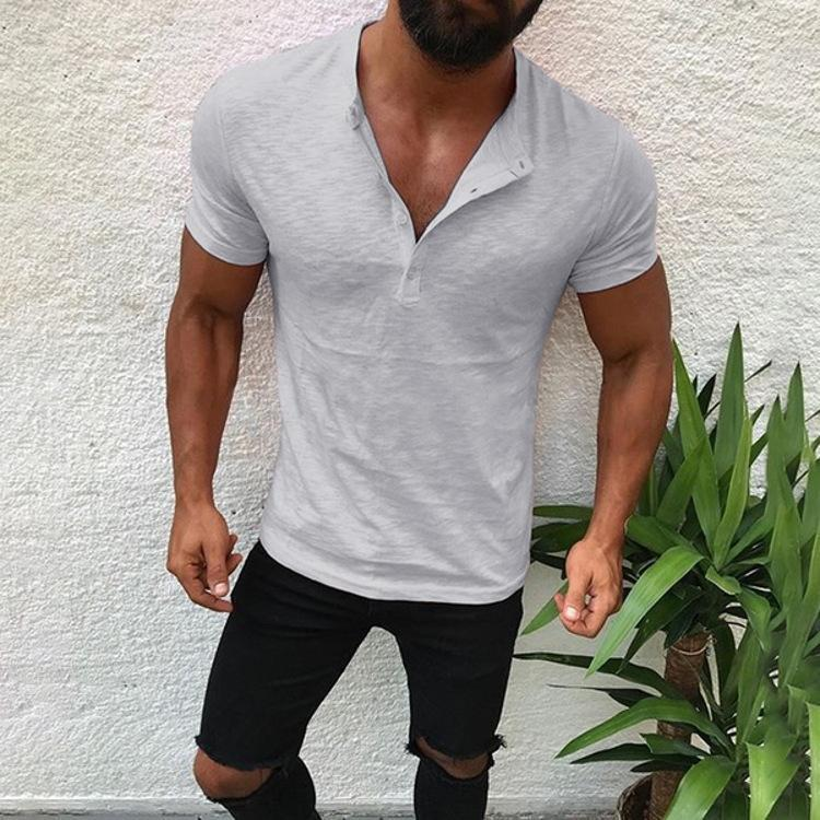 Fashion Mens Basic Stand Collar Loose Bamboo Cotton T-Shirt