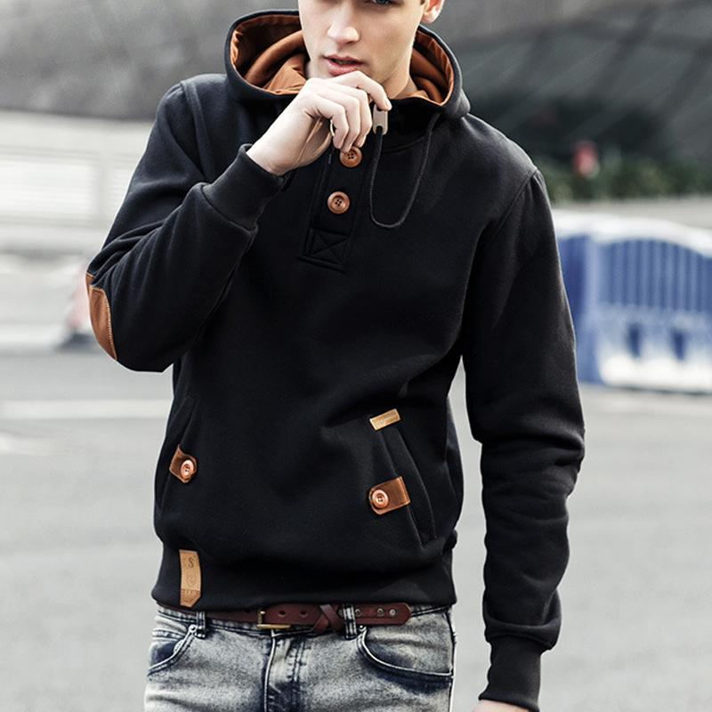Mens Plain Pullover Button Hoodie