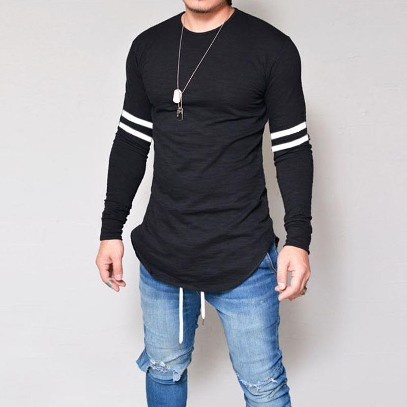 Mens Long Sleeve Round Neck Slim Fit T-Shirt