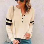 Jewel Neck Long Sleeve Pure Color T-Shirt