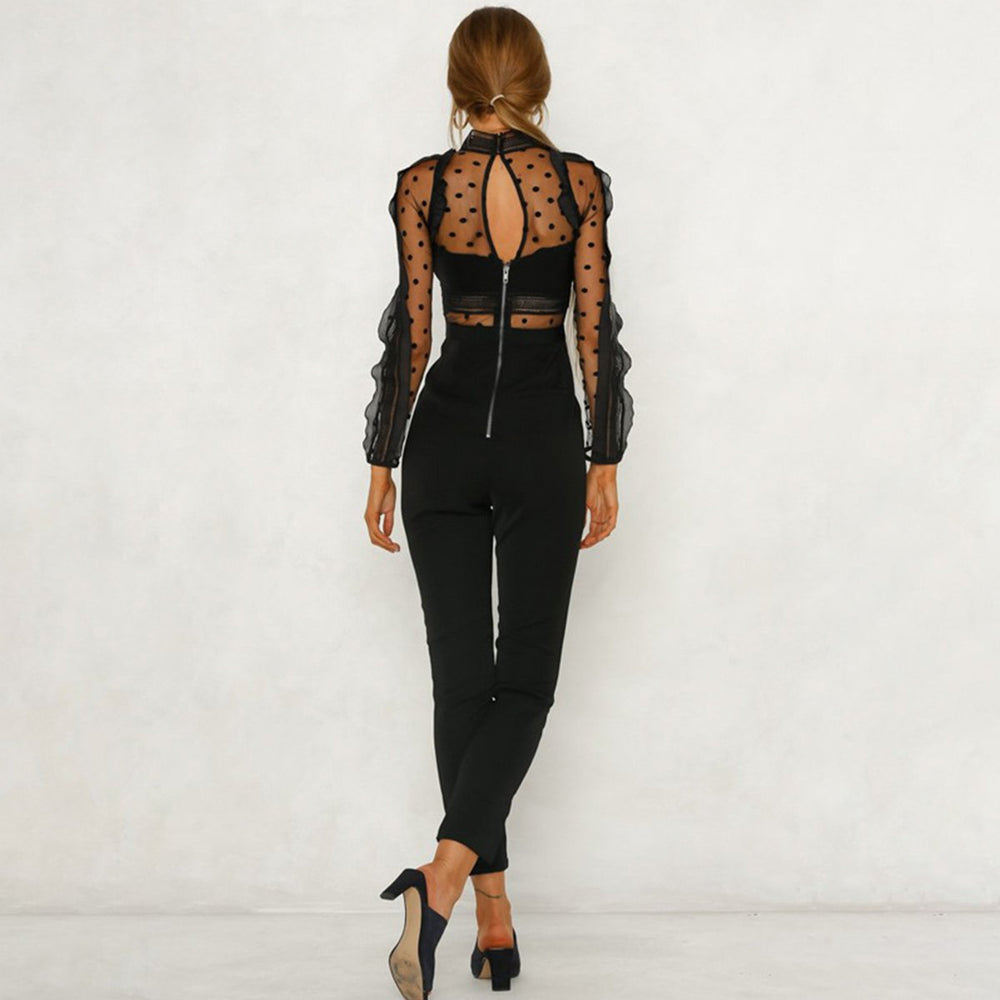 2c8a3e52f254 Sexy Lace Polka Dot Long Sleeve Jumpsuit