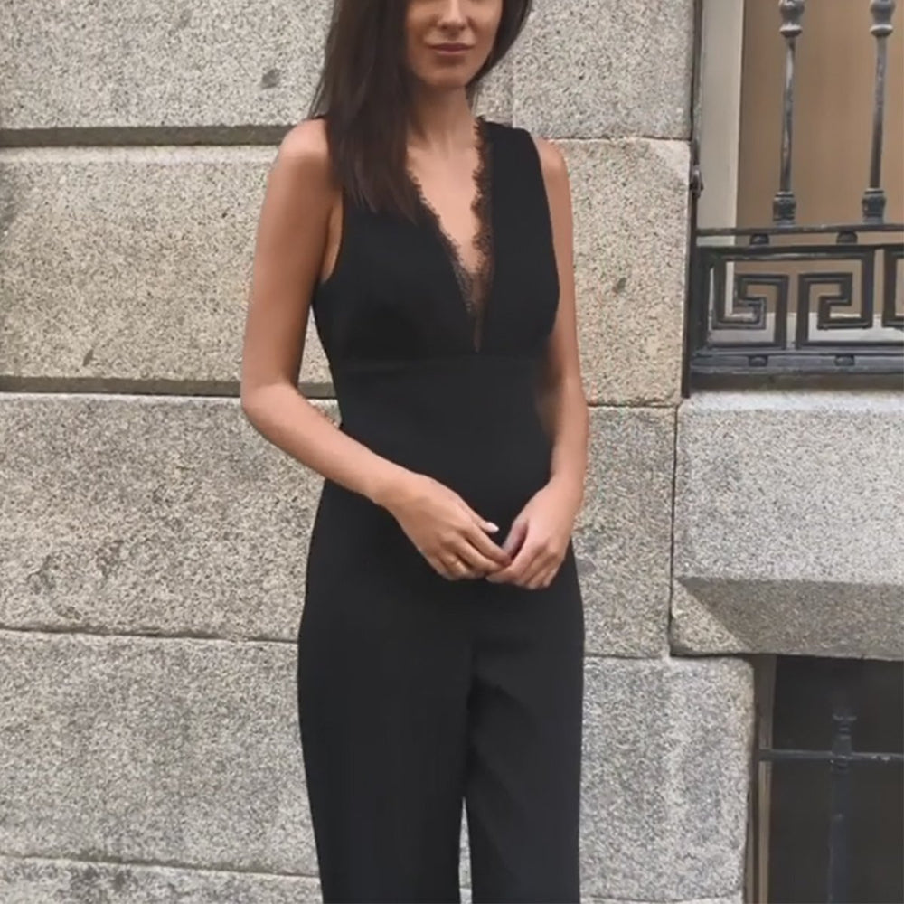 Sexy Sleeveless Backless Tie Back Jumpsuit