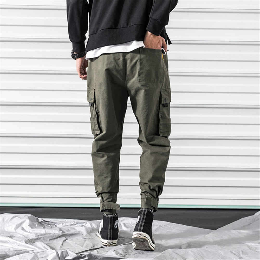 Street Style Plain Multiple Packets Jogger Pants