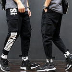 Street Style Letter Printed Packets Decorated Loose  Pants