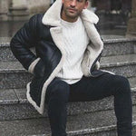 Mens Fashion Trend Long Sleeve Warm Leather Jacket Outerwear