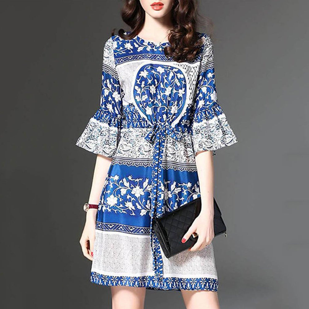 Drawstring Printed Bell Sleeve Round Neck Vacation Dress 64172309b