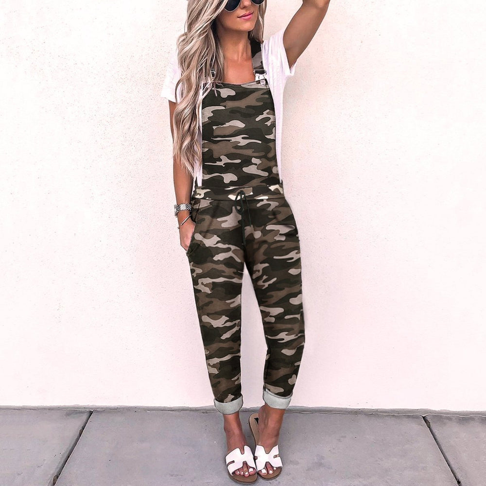 Slim-Fit Straight Strap With Camouflage Jumpsuit