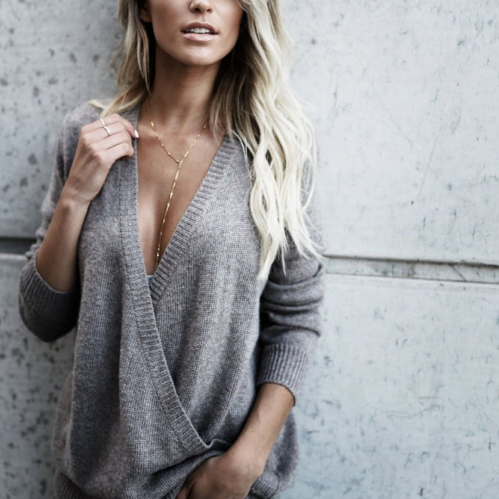 Sexy Deep V Neck Long Sleeves Plain Sweater