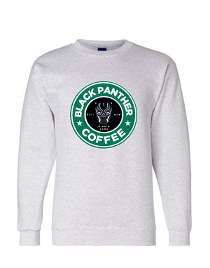 Black Panther Coffee Champion Crewneck-CREWNECKS & HOODIES-WakandaForever