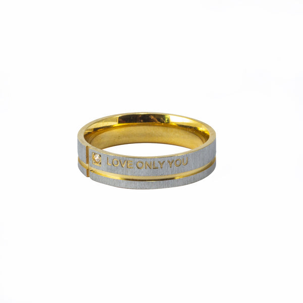 "Anillo Grabado ""I love Only You"" Acero Dorado y Arenado"