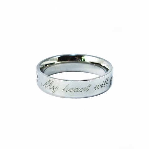 "Anillo Delgado ""My Heart Will Go On"" Acero"