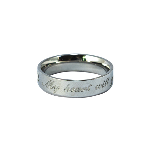 "Anillo Grueso ""My Heart Will Go On"" Acero Plateado"