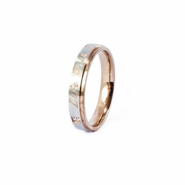"Anillo ""Life With You"" Acero Rosa"