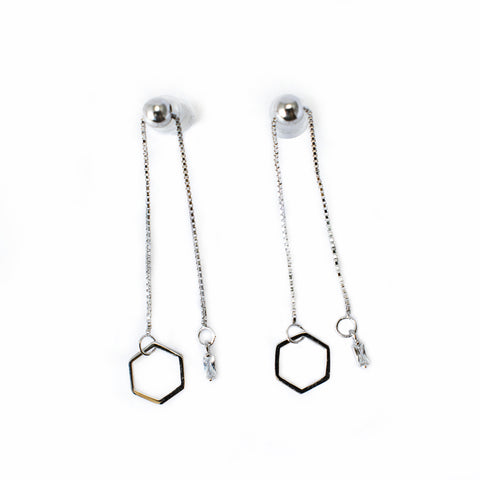 Aretes Hexagon Plata Ley 925