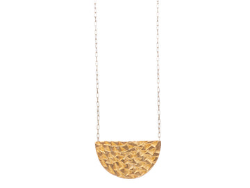 Half round texture necklace // 494