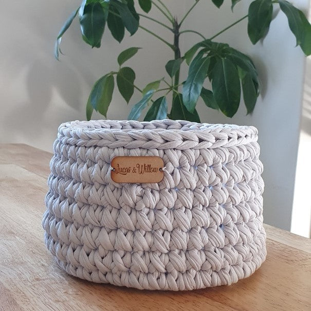 Handmade Recycled Yarn Basket - Grey