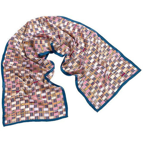 Crepe de Chine Silk Scarf African geometric textile blue white gold pink scma Smith College Museum of Art