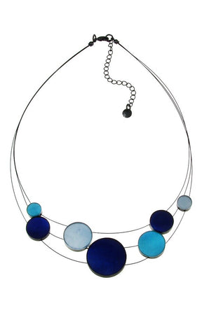 mother of pearl resin indigo sky pale blue necklace adjustable geometric transparent black chain handmade Philippines scma Smith College Museum of Art
