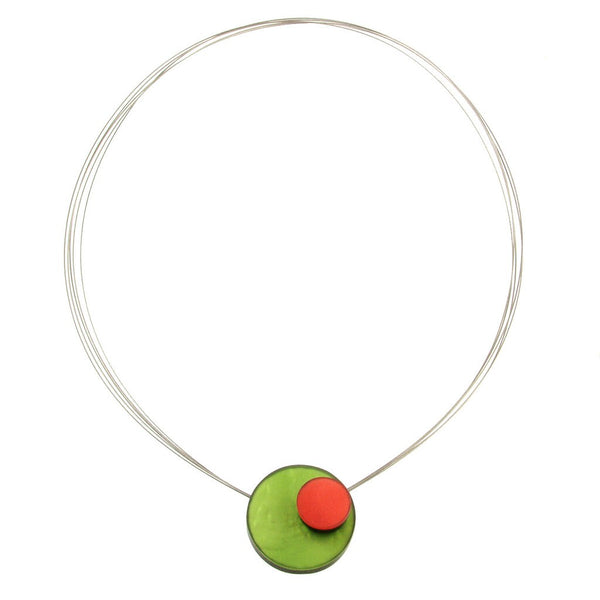 necklace steel wire colorful circles mother of pearl Indonesia scma smith college museum of art green red pink