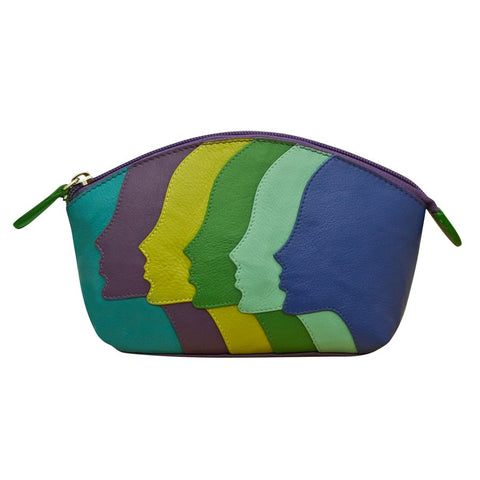leather purse makeup cosmetics bag zipper stripes faces colorful green yellow blue purple wallet scma smith college art museum