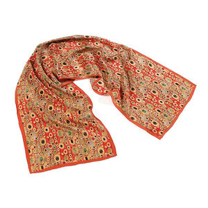 Klimt Red Silk Scarf