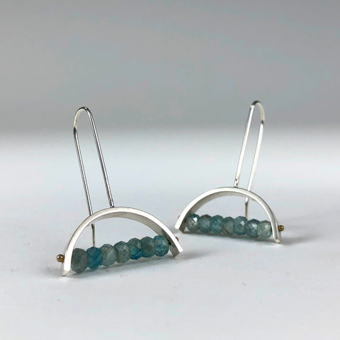 Ashka Dymel handmade earring earrings green blue sterling silver half moon arc geometric scma smith college museum of art