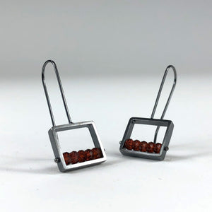 Ashka Dymel handmade earring earrings red black sterling silver cube cubic geometric scma smith college museum of art